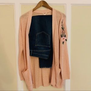Light Pink Cardigan with Embroidered Sleeve Detail